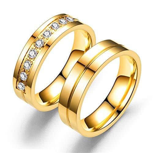AnazoZ Unisex Paar Ringe Verlobungsring Partnerringe 1 Paar Weißer Zirkonia Runder Ring Edelstahl Gold 6MM Eheringe für Damen Herren (Herren Grün Weiser Mann Kostüm)