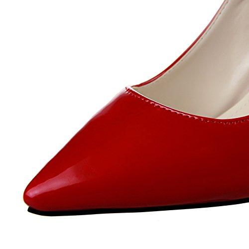 Guoar High Heels Damenchuhe Große Größe Pumps Spitze Zehen Lack Perlenkette Stiletto Büro-Dame Party Hochzeit Rot