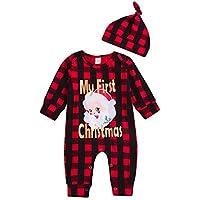 Bauycy Overall Baby Kind Junge Mädchen Langarm Weihnachten Plaid Santa Brief Drucken Hase + Hut Set Neugeborenes Baby Mode Plaid Casual Hemd Overall