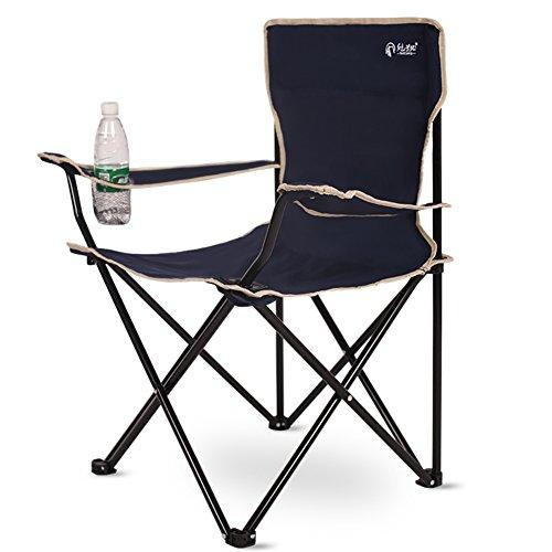 PeiQiH Camping Faltstuhl, Außen Portable Mit Carrying Bag Becherhalter Handlauf Stühle Freizeit Leichtgewicht Picknick Reise Angeln Strandstuhl-B-schwarz 50x50x80cm