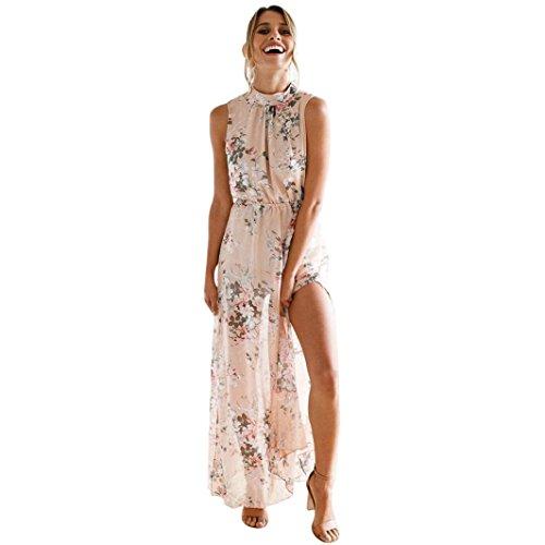 kingko Damen Chiffon Maxikleid Elegant Blumen Ärmlos Rückenfrei Split Lang Kleid Strandkleid Weiß Damenkleider Sommer (M, Rosa) -