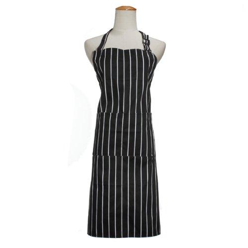 aliciashouse adulto regolabile nero bianco Stripe Uniforme grembiule Chef con 2tasche