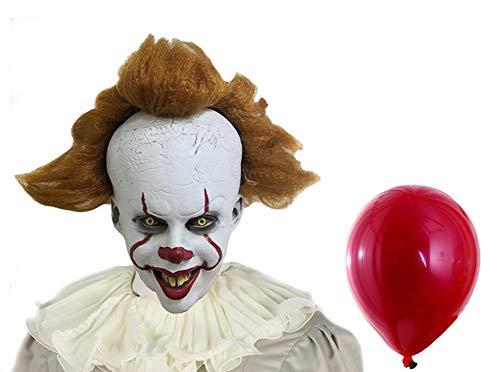 Pandacos Pennywise Maske IT/ES Mask mit rotem Ballon aus Latex Halloween Cosplay Zubehör Einheitsgröße für Erwachsene - Schaurige Kinder Kostüm