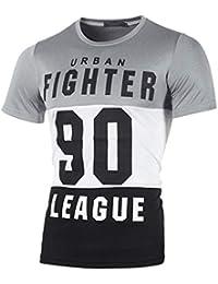 Waotier Camiseta De Manga Corta con Estampado De Letras para Hombre Camisas Casual  para Hombre De 267db5fb2b35