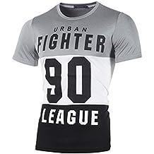 Waotier Camiseta De Manga Corta con Estampado De Letras para Hombre Camisas Casual para Hombre De