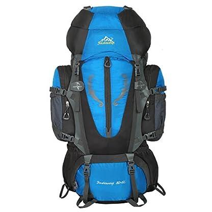HWJIANFENG Backpack for Outdoor Sports Hiking Traveling Trekking Camping Waterproof Mountaineering Ultralarge Capacity Internal Frame Men Women 80L+5L 2