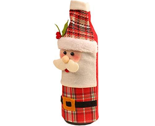 Q-R Weihnachtsdekoration, Weinflaschen-Set, Weihnachtsmann, Wein, Champagner-Set, Cartoon-Schneemann-Flaschen-Set
