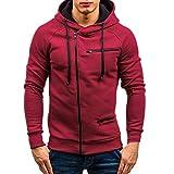 Xmiral Herren Pullover-Hoodie Schalkragen Moderner Sweatshirt-Kapuzenpullover Slim Fit Männer Pulli Outwear(S,Rot)