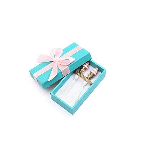 Frühstück bei Tiffanys Technicolor Audrey Tassel Ohrstöpsel (Moonlit Silber, w / Geschenkbox)