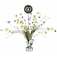 60th Birthday Spray Centrepiece Table Decoration Black Silver Gold