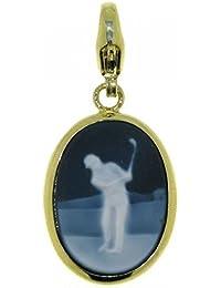 Derby Anhänger Gemme Achat Golfspieler 18 x 13 mm mit Karabiner Kamee 14 Karat (585) Gelbgold - 13209