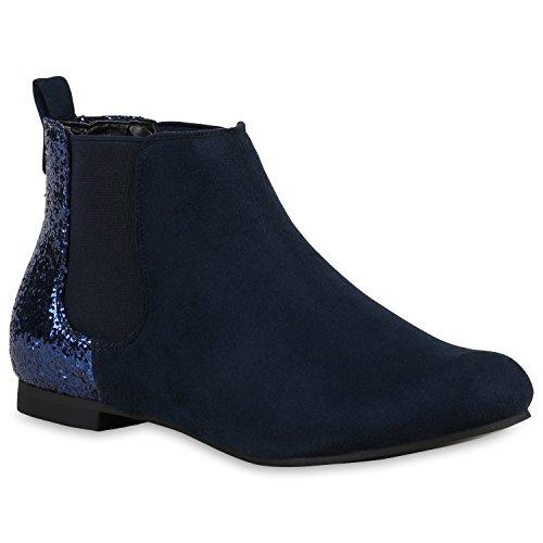 Damen Chelsea Boots Glitzer Stiefeletten Lederoptik Dunkelblau