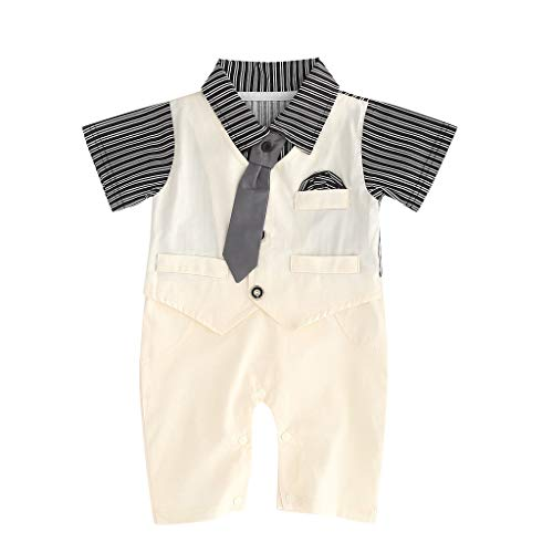 Softshell Overall Newborn Boy Gentleman Striped Tie Short Sleeves Romper Jumpsuit Clothes