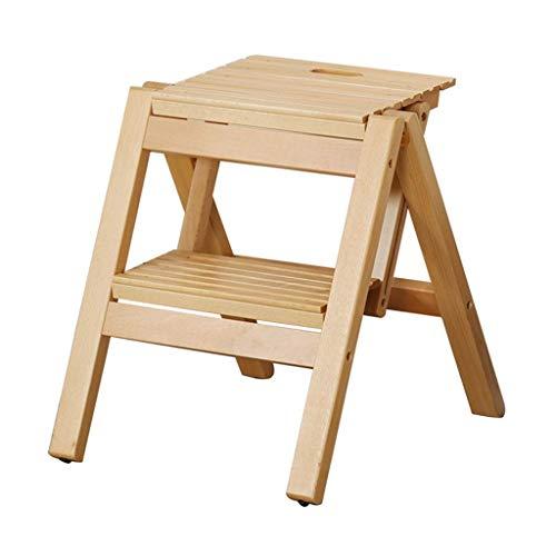 STEP STOOL Tragbarer Tritthocker, hölzerne 2-Stufen-Leiter rutschfeste Multifunktion für die Küchen-Schlafzimmer-Garage Einfach zu speichern (Color : Wood Color) - Buche Kirschbaum-schrank