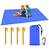 Pocket Picnic Blanket 79 * 55inch, Sand Proof and Water Resistant, Compact Beach Blanket for Outdoor Travel Camping Festival Sports (Blue)
