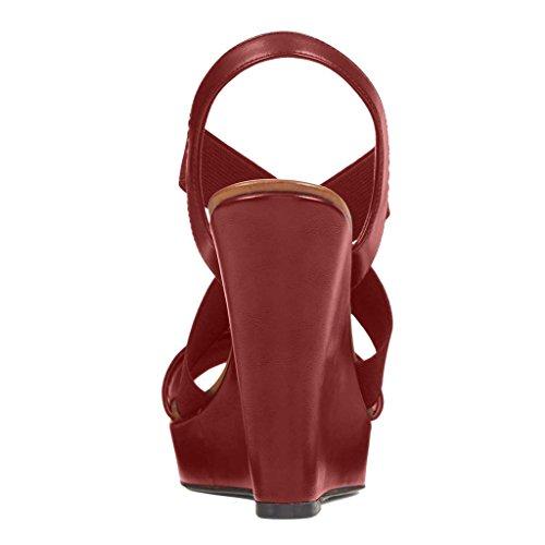 NANCY JAYJII - Femmes - Sandales - Cuir véritable - Semelle compensée 2 cm - Beige - Talon compensé - Bout rond ouvert Rouge
