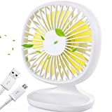 AYOUYA Desk Fan Noiseless USB Fan Cooling Fan with Adjustable Head, Double Fan Blades, 2 Speeds, Mini Size Desktop Fan for Home Office Outdoor Travel