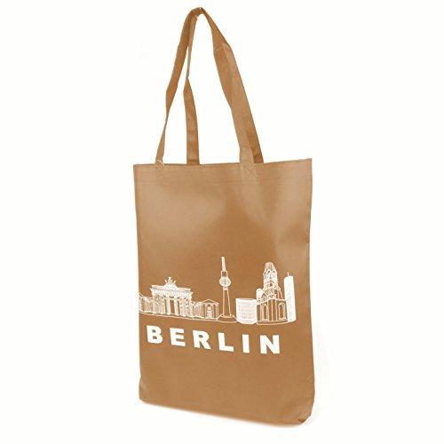 Berlin Jutebeutel Hipster Tasche Shopper Stofftasche Einkaufstasche Freizeittasche Beutel Souvenir Andenken Einkaufsbeutel #100927 Braun