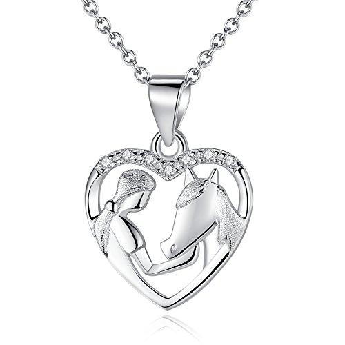 Collana ciondolo cavallo da ragazza in argento sterling 925, collana donna pendenti donna gioielli con zirconi, con catenina da 45,7 cm