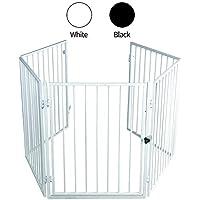 CCLIFE Reja de protección para Chimenea | Barrera de Seguridad para Chimenea | 5 Piezas(una Puerta y 4 Laterales)-Aprox. 300/75/3,5 cm, Color:Blanco