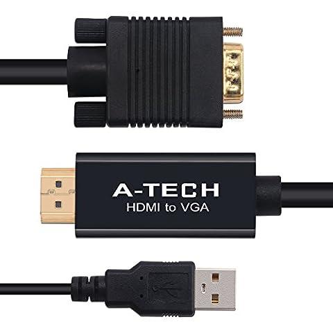 Câble hdmi à vga 5m est un connecteur plaqué or Câble Adaptateur HDMI vers VGA CE Câble VGA Support HDMI v1.3 HDMI - 1080p et compatible avec TV, projecteur en