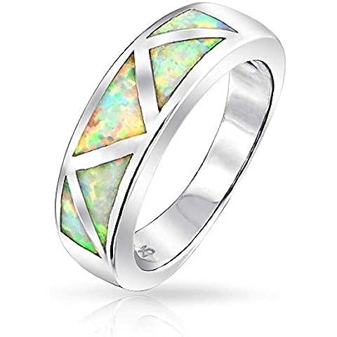 Bling Jewelry 925 Sintetico argento opale bianco ottobre Birthstone intarsio Anello fascia incisione gratuita