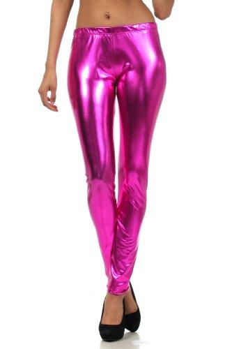 Rock Star Kostüm Accessoires - Sakkas Footless Liquid Wet Look Metallic Stretch Leggings - Pink/Large