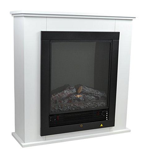 LED Elektrokamin Elektrischer Kamin Heizung Kaminofen Elektroheizung Heizlüfter Weiss Weiß