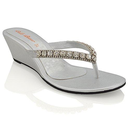 Essex glam sandalo donna argento con zeppa bassa finto diamante effetto scintillante eu 36