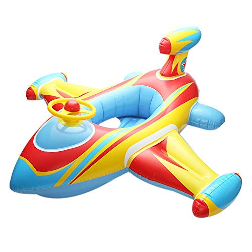 Schwimmring für Kinder Schwimmring für Kinder mit großem Flugzeug und Lenkradsitz, dick gepolstertes Boot, aufblasbares Flugzeug, Schwimmen (Color : Yellow) -