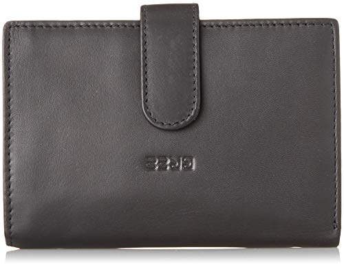 BREE Collection Damen Liv New 119, Black Smooth, Combi. Purse Geldbörse, Schwarz, 2x10x14.5 cm