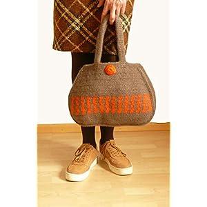 Henkeltasche Handtasche gehäkelte Tasche gefilzte Tasche braun aus hochwertiger Wolle.