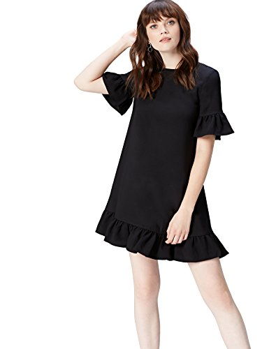 FIND Women's Dress Frill Hem Short Sleeve, Black, 10 (Manufacturer Size: Small)