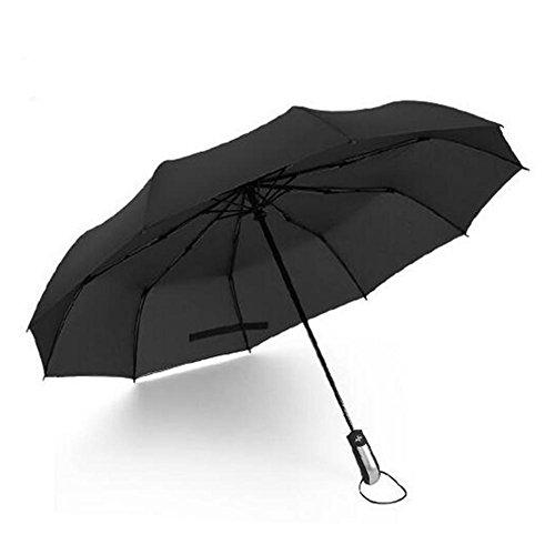 Outdoor-Mode Vollautomatische Drei Folding 10 Knochen Schlag-Prävention Business Regenschirm (2p) , 10 bone black , 23