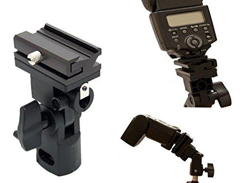 Flexibler Halter mit Metallschiene für Aufsteckblitzgeräte mit Aufnahme für Studioschirme