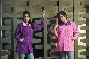 Prrem's Girls Reversible Purple/Light Pink Waterproof Rain Wear Windcheater Jacket in Size L