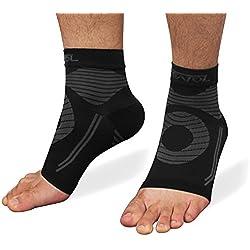 Featol Knöchelbandage Fußgelenkstütze Fußbandage Kompressionssocken, Schutzfunktion, Schmerzlinderung und Blutzirkulation behilfreich für Männer und Frauen (Schwarz, M)