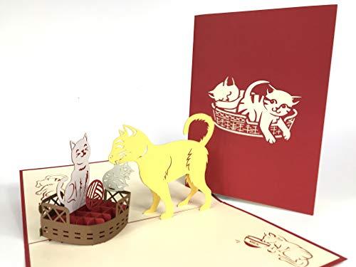 Cat Mom Pop Up Grußkarte Anniversary Baby Happy Geburtstag Ostern Mutter Thank You Valentine 's Day Hochzeit Kirigami Papier Craft Postkarten - Mom Valentines Happy Day