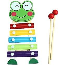 zolimx 5-Nota xilófono niños, sabiduría del desarrollo Musical juguetes (rana)