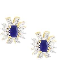 Shining Jewel Royal Blue Contemporary American Diamond Elegant Studs (SJ_162)