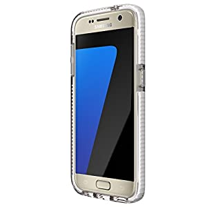 Tech21 Evo Durable Impact Resistant Case Cover with FlexShock Technology and Checked Pattern for Samsung Galaxy S7 - Clear/White