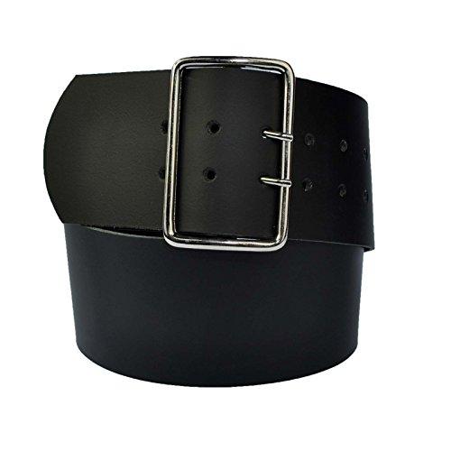 7cm Breit Echt Leder Guertel mit 4 Eckiger Roll Schnalle Schwarz 85cm Bundweit - Breite Gürtel