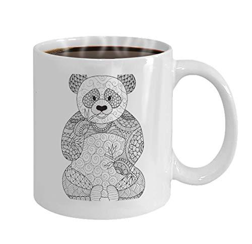 Gift Coffee Mug Tea Cup White 11Oz hand drawn zentangle panda coloring book adult des