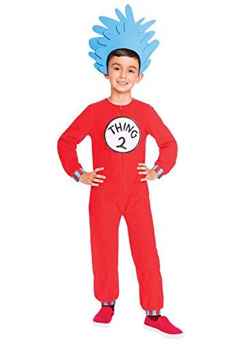 2 1 Ding Kostüm Und - amscan Dr. Seuss Ding 1 & Ding 2 Jumpsuit Kostüm Kinder Unisex