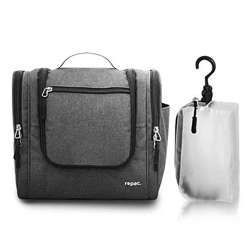 repac Kulturbeutel zum Aufhängen | XL Premium Set | Kosmetiktasche groß Damen und Herren | + transparente 1 Liter Kulturtasche zum Hängen fürs Handgepäck im Flugzeug | für Mann und Frau -
