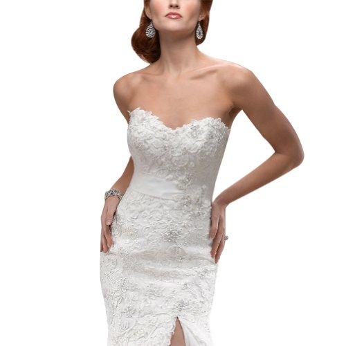 GEORGE BRIDE Luxus Ballkleid Organza ueber Satin Brautkleid mit Spitze-Applikationen Elfenbein