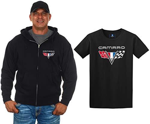 JH Design Chevy Camaro Herren Kapuzenpullover und T-Shirt, mit Reißverschluss - Schwarz - X-Groß (Hoodie Camaro)