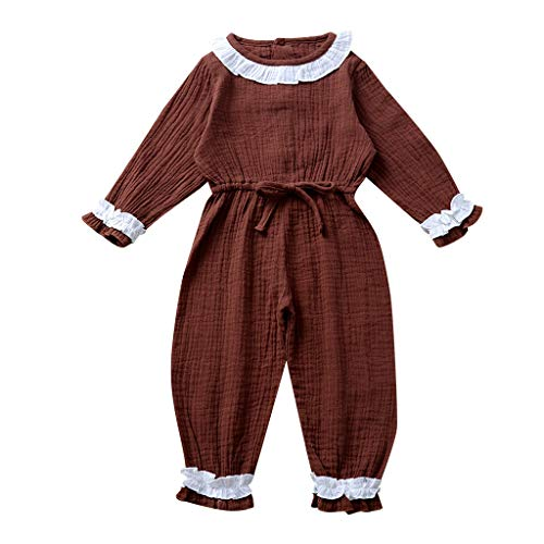 Deloito Kleinkind Baby Kleidung Set Neugeborene Mädchen Robe Blusen Hosen Overall Spitzen Rüschen Strampler Bodysuits Outfits (Kaffee,90/[12-18 Monate]) (Baby Im Carrier Kostüm)