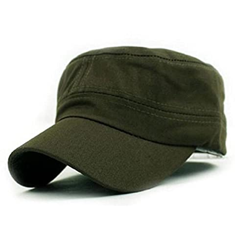Bluester Classic Plain Vintage Army Military Cadet Style Cotton Cap Hat Adjustable (Army Green)