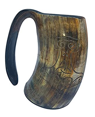 New Arrival of. Hand Engraved Thor's XL Handmade 6 Inch Game of Thrones Style Drinking Horn Beer Tankard/ Mug 16 oz
